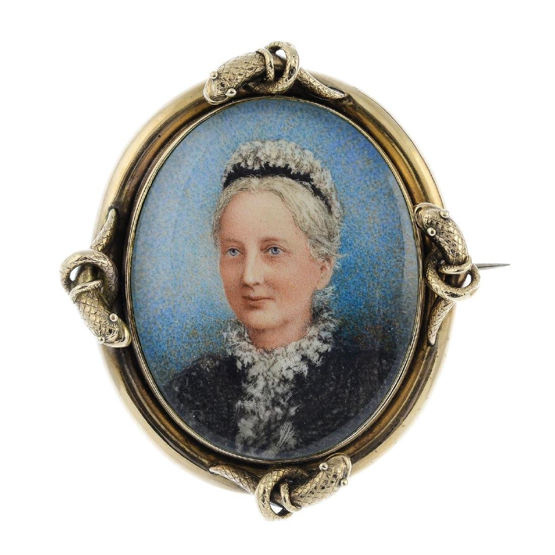 A late Victorian gold portrait miniature brooch. Of