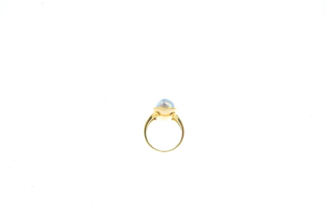An 18ct gold cultured pearl dress ring. The baroque - 2
