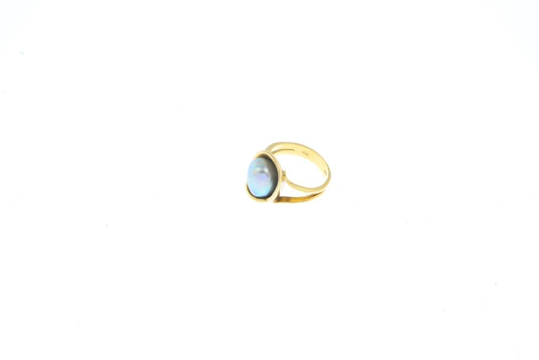 An 18ct gold cultured pearl dress ring. The baroque - 3