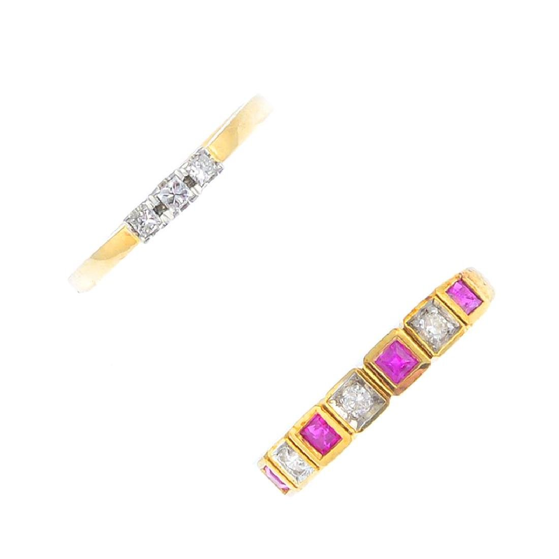 Two 9ct gold diamond and ruby rings. To include a