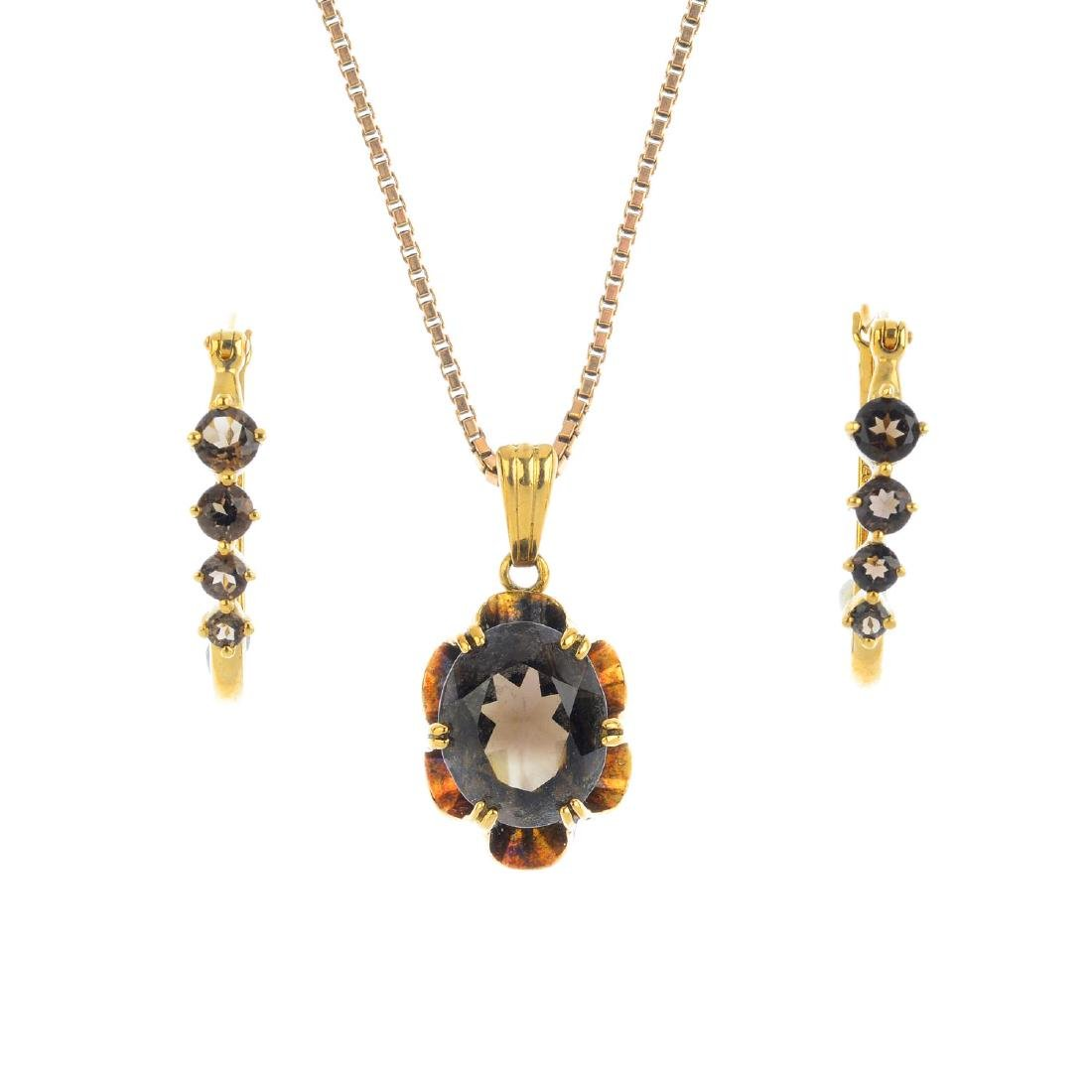 A 9ct gold smoky quartz pendant and a pair of 9ct gold