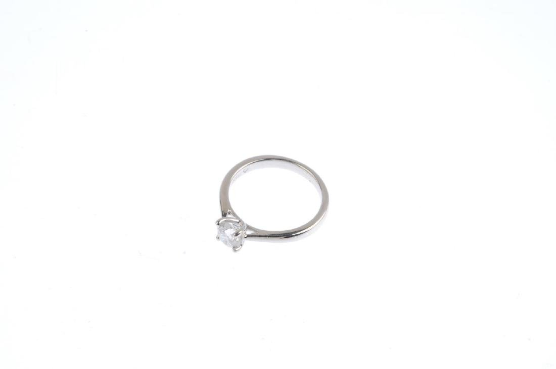 A platinum diamond single-stone ring. The brilliant-cut - 3