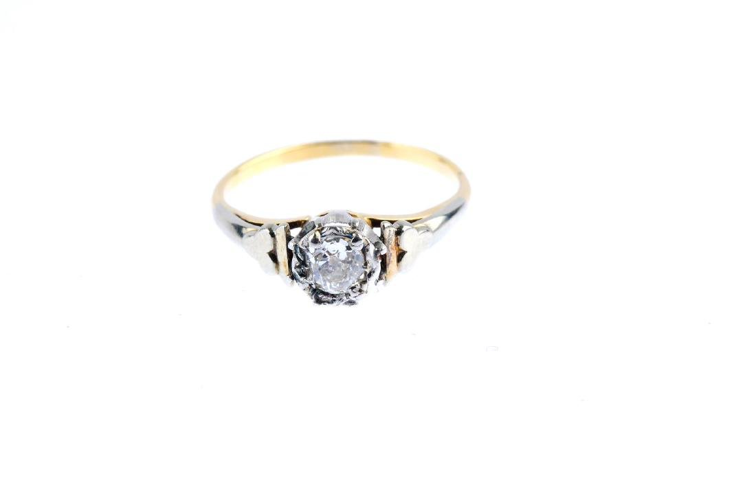 A diamond single-stone ring. The old-cut diamond, with - 2