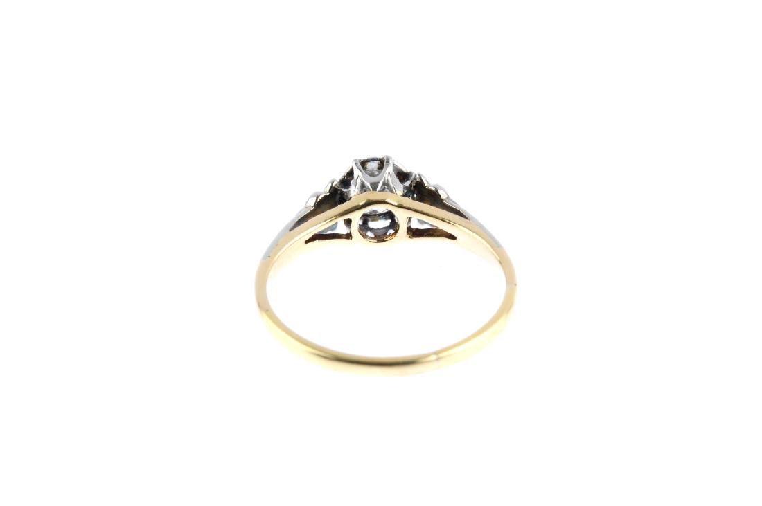 A diamond single-stone ring. The old-cut diamond, with - 3