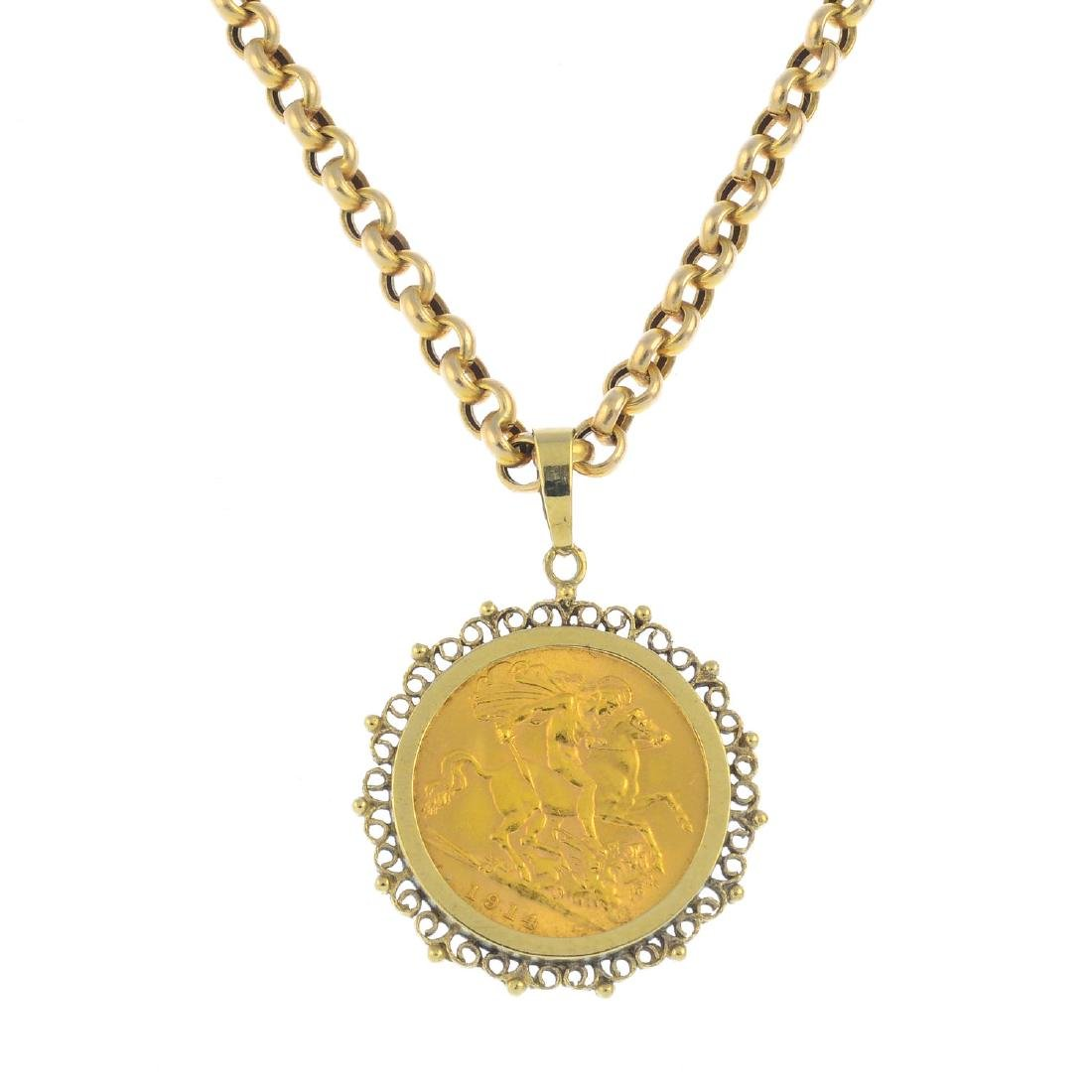A 9ct gold half sovereign pendant. The half sovereign,