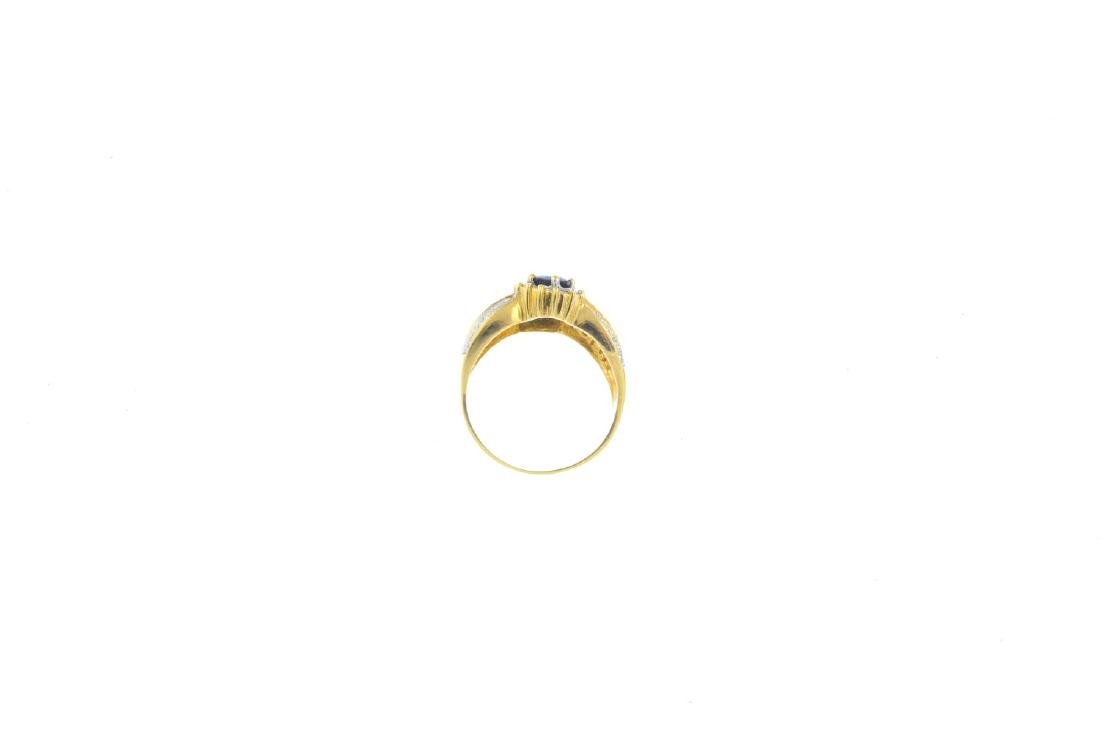 An 18ct gold sapphire and diamond dress ring. Of - 2