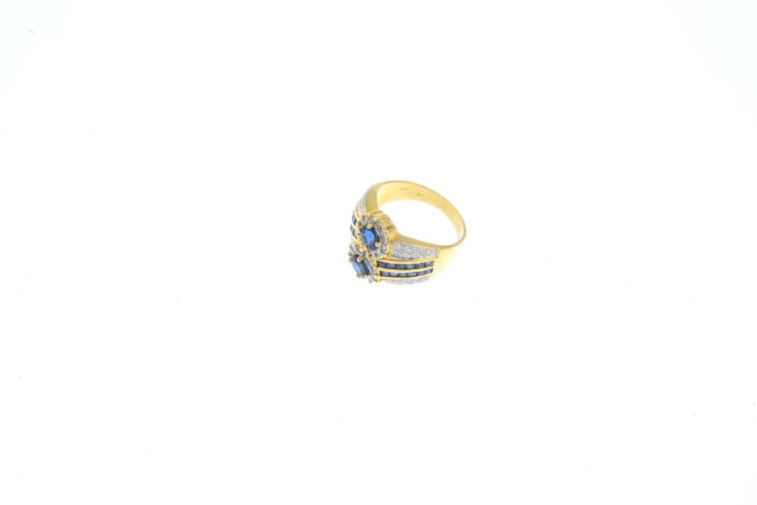 An 18ct gold sapphire and diamond dress ring. Of - 3