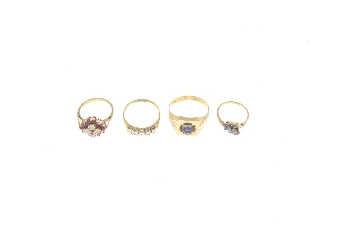 Four diamond and gem-set rings. To include a 9ct gold - 2