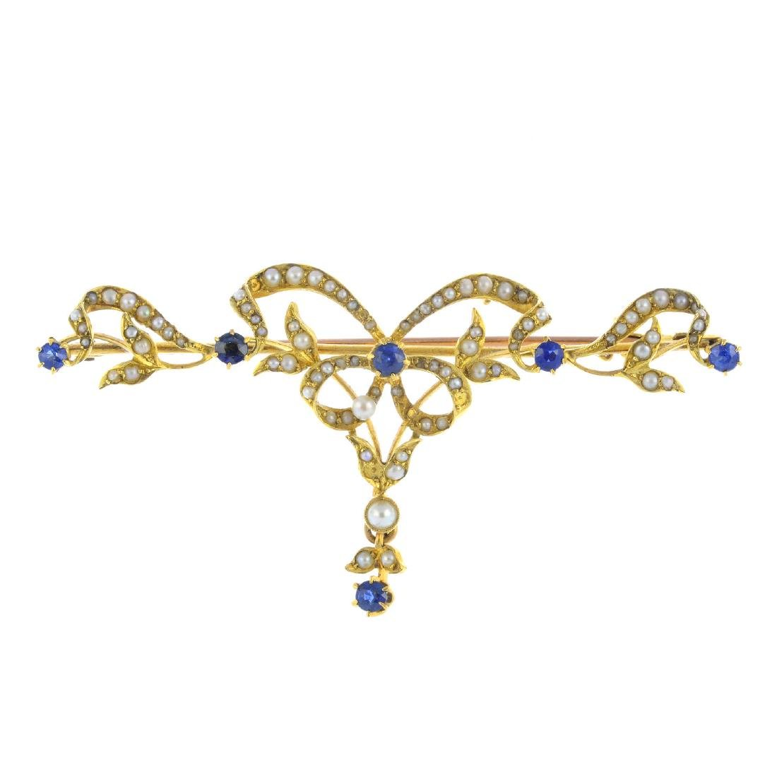 An early 20th century 15ct gold sapphire and seed pearl