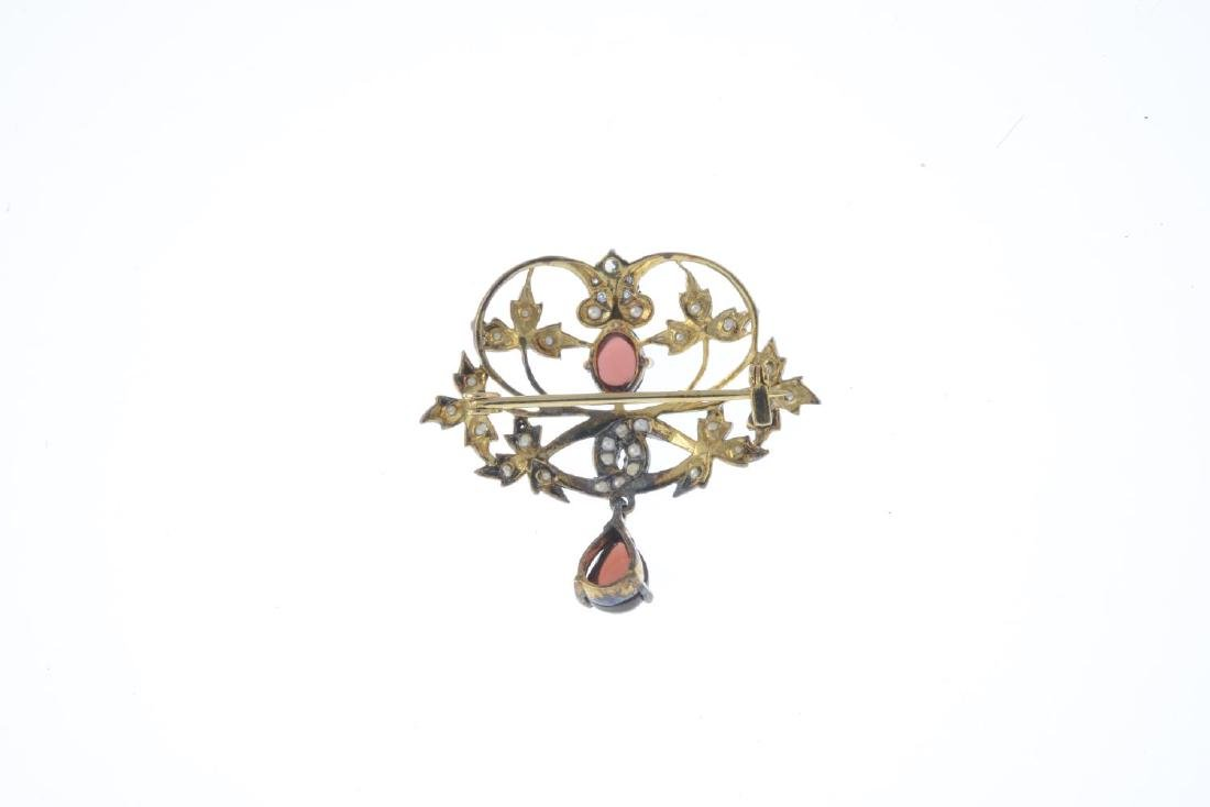 A diamond, garnet and seed pearl brooch. Of openwork - 2