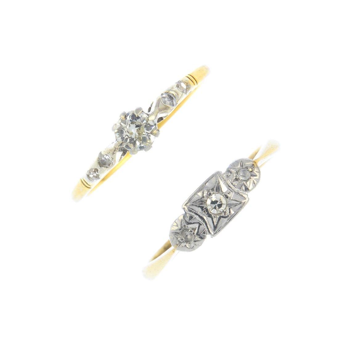Two diamond rings. To include a vari-cut diamond