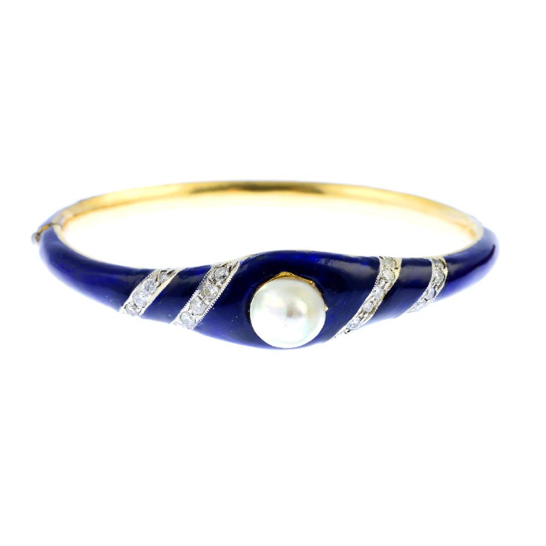 A cultured pearl, diamond and enamel bangle. The