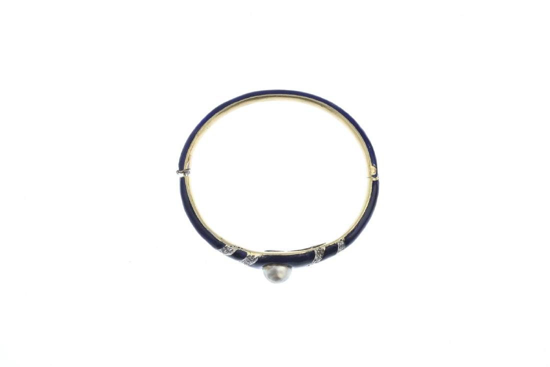 A cultured pearl, diamond and enamel bangle. The - 3