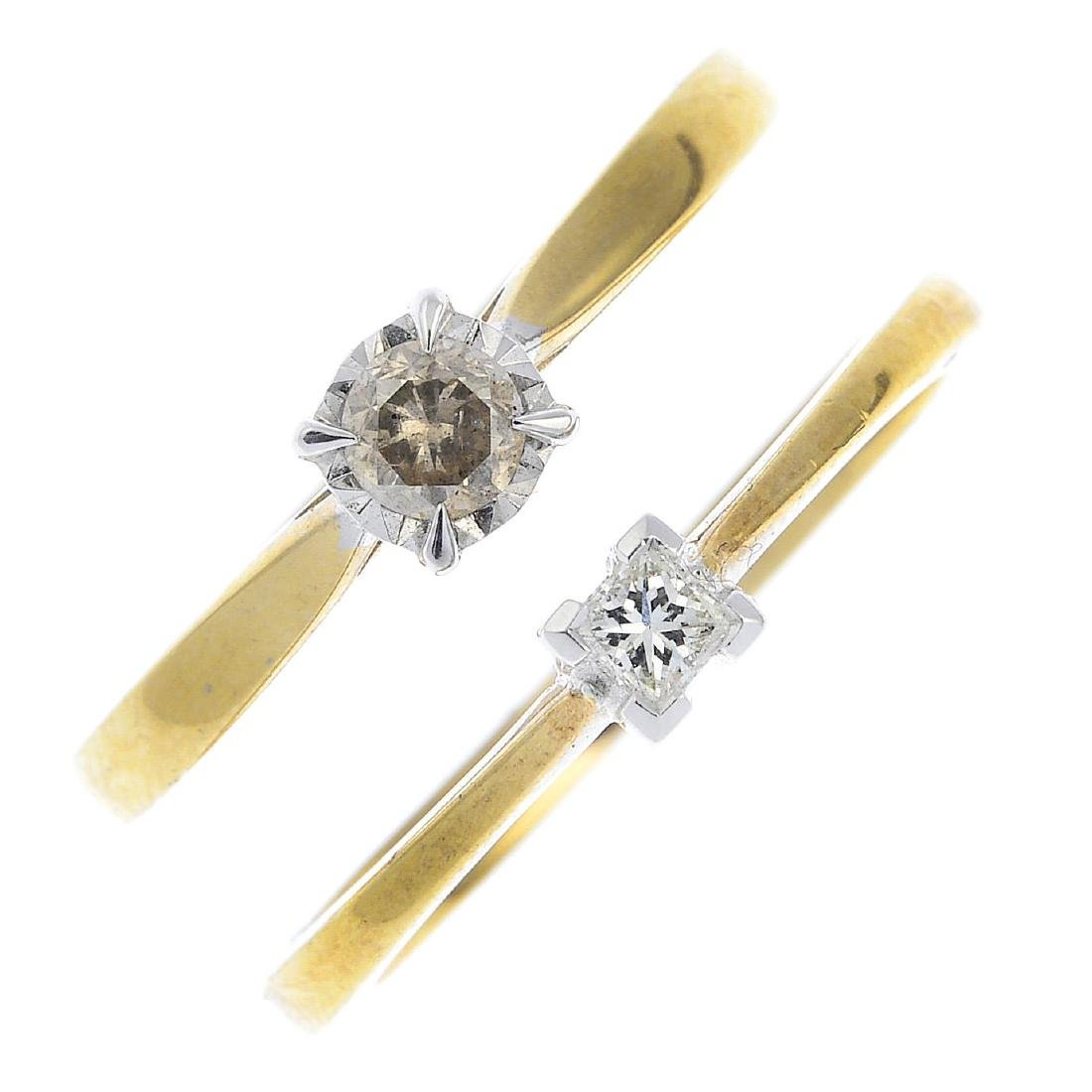 Two gold diamond single-stone rings. To include an 18ct