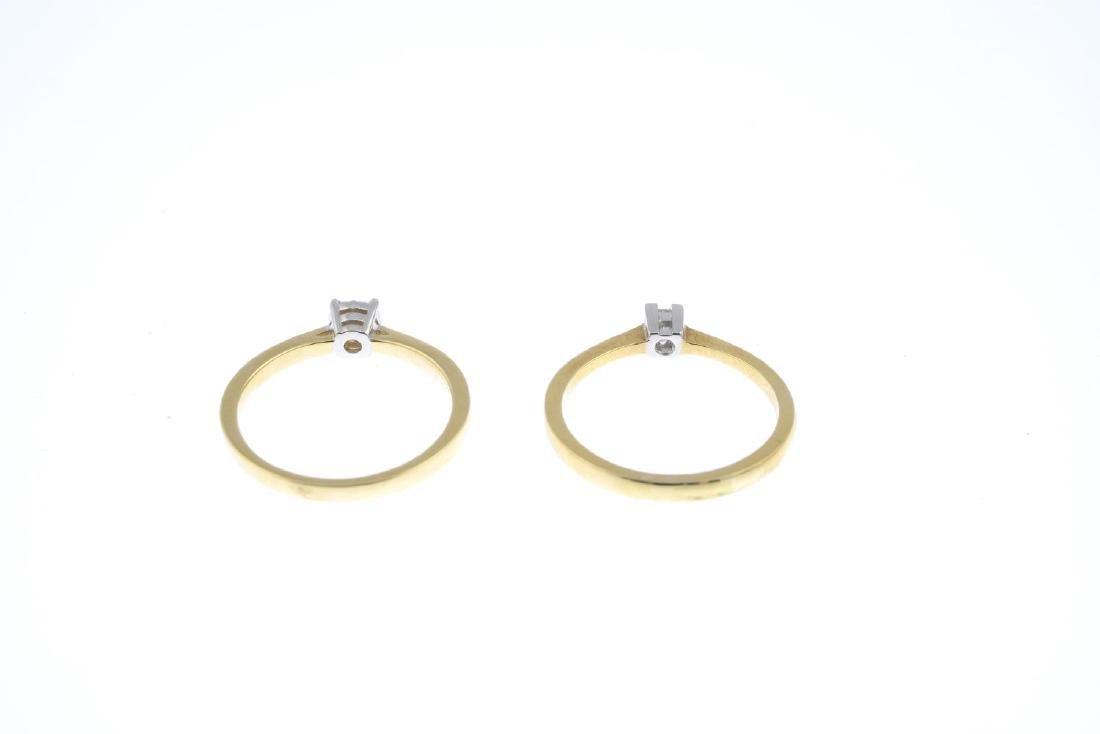 Two gold diamond single-stone rings. To include an 18ct - 3
