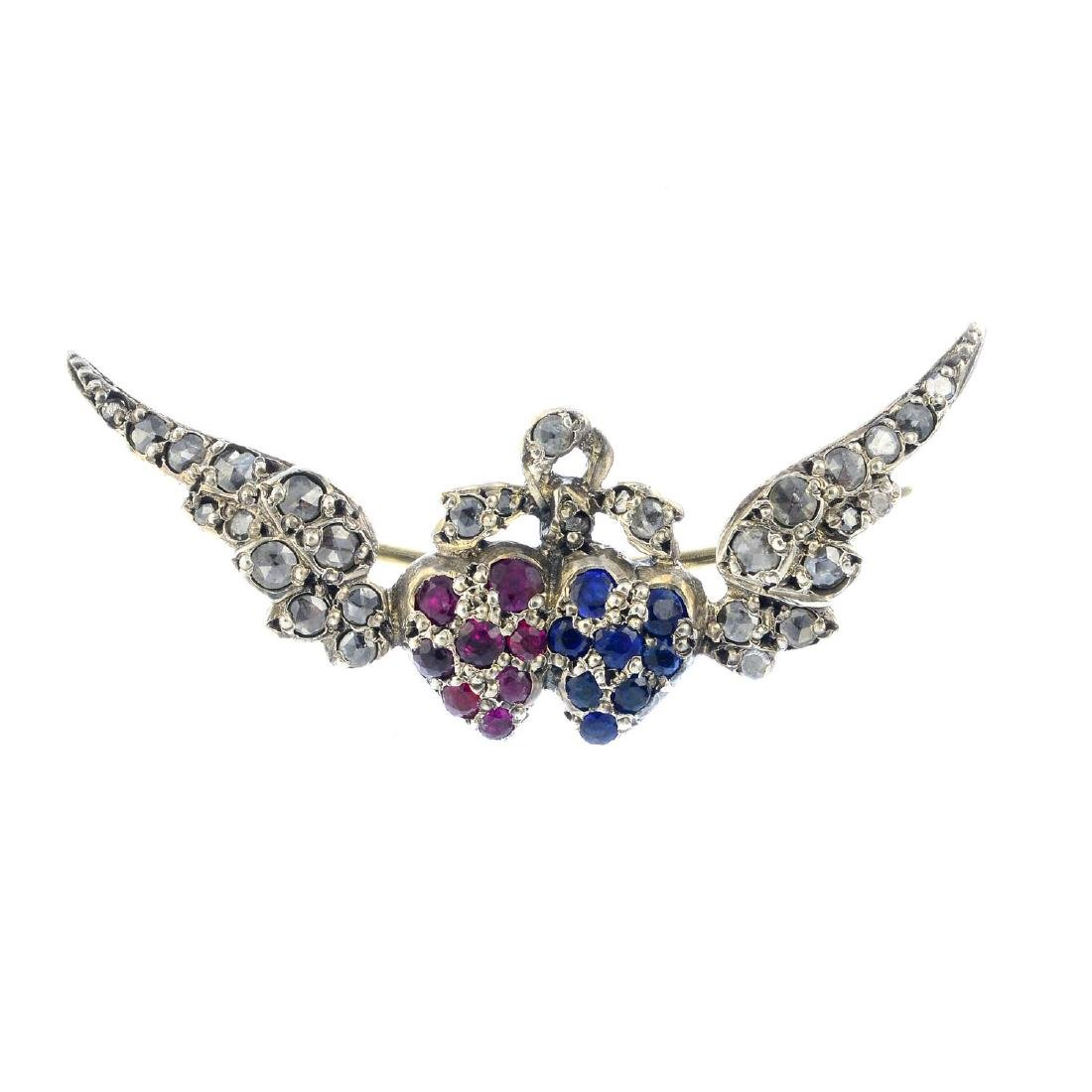 An early 20th century gem-set brooch. The