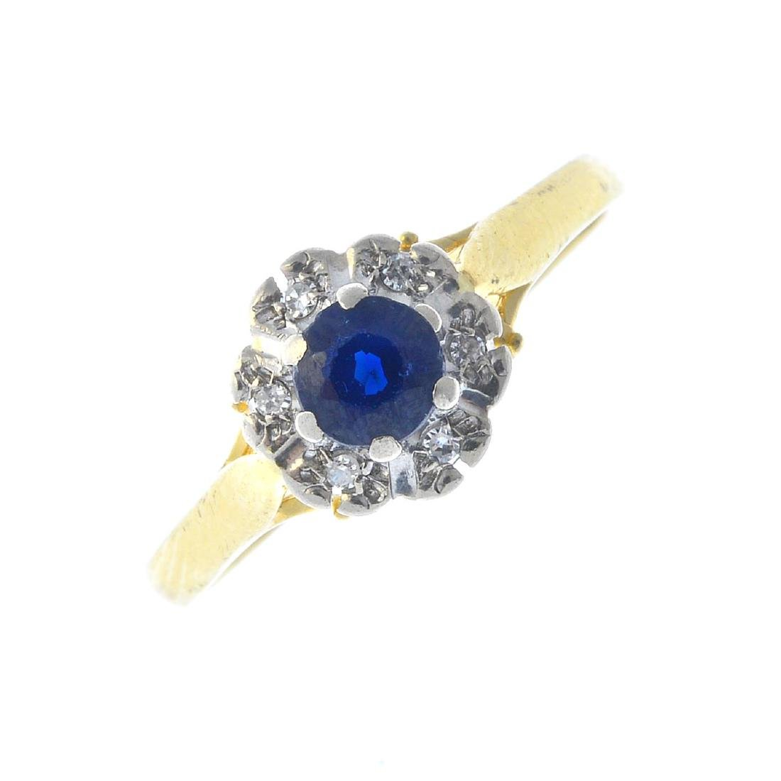 A 1960s 18ct gold sapphire and diamond ring. The