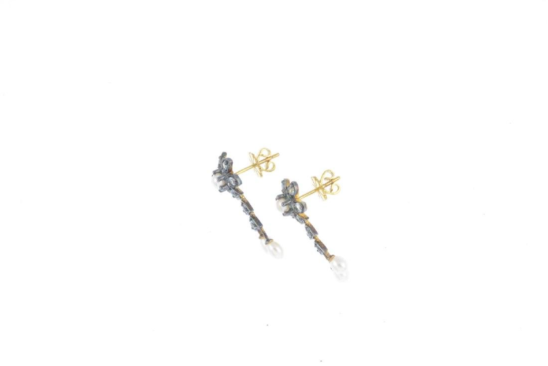 A pair of cultured pearl and cubic zirconia earrings. - 2