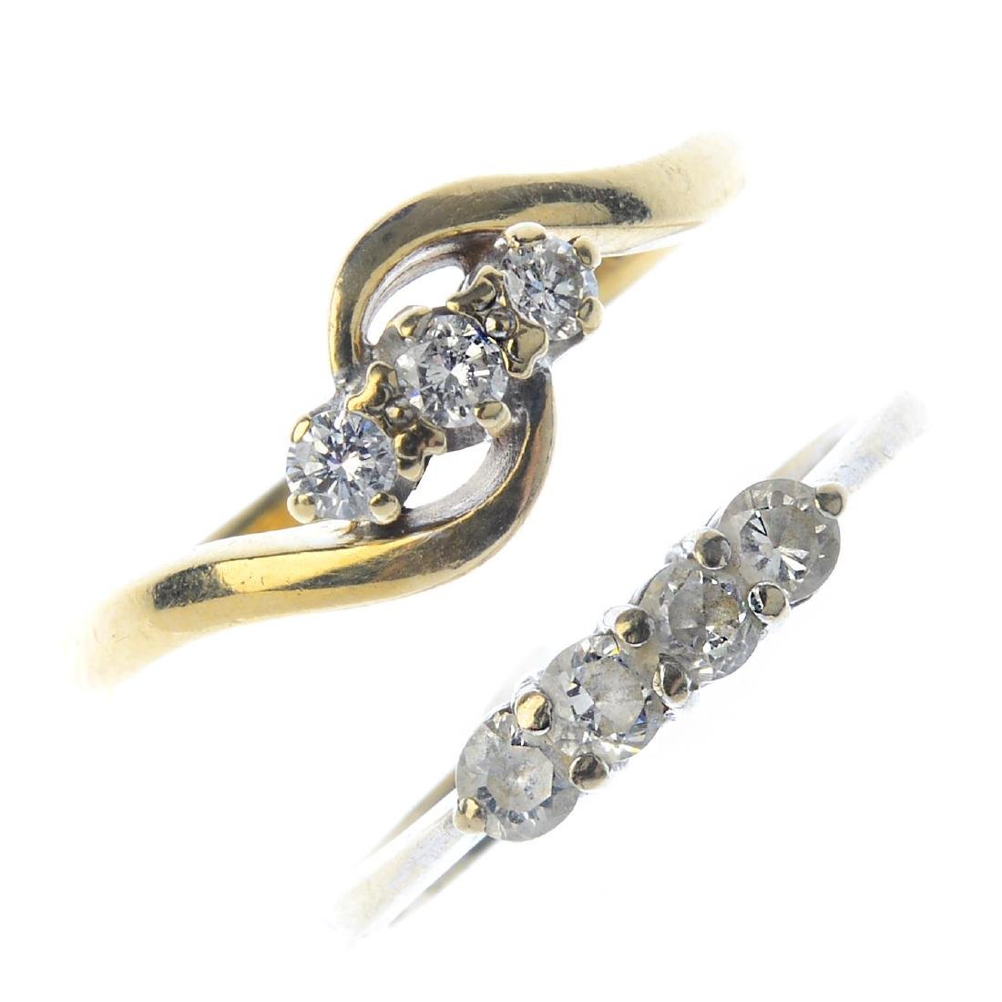 Three gem-set rings. To include a 9ct gold diamond