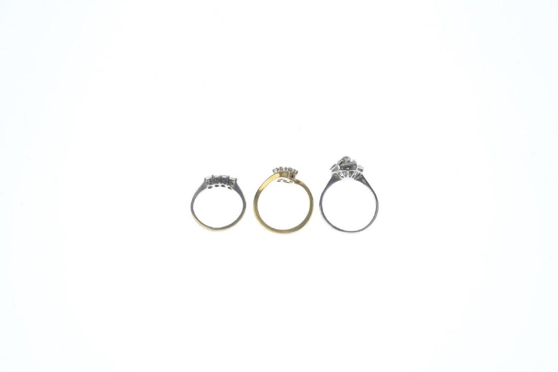 Three gem-set rings. To include a 9ct gold diamond - 2