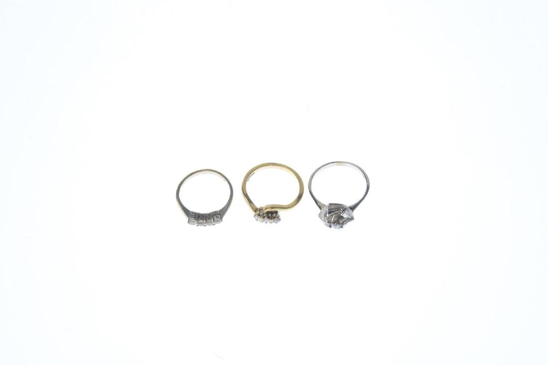 Three gem-set rings. To include a 9ct gold diamond - 3