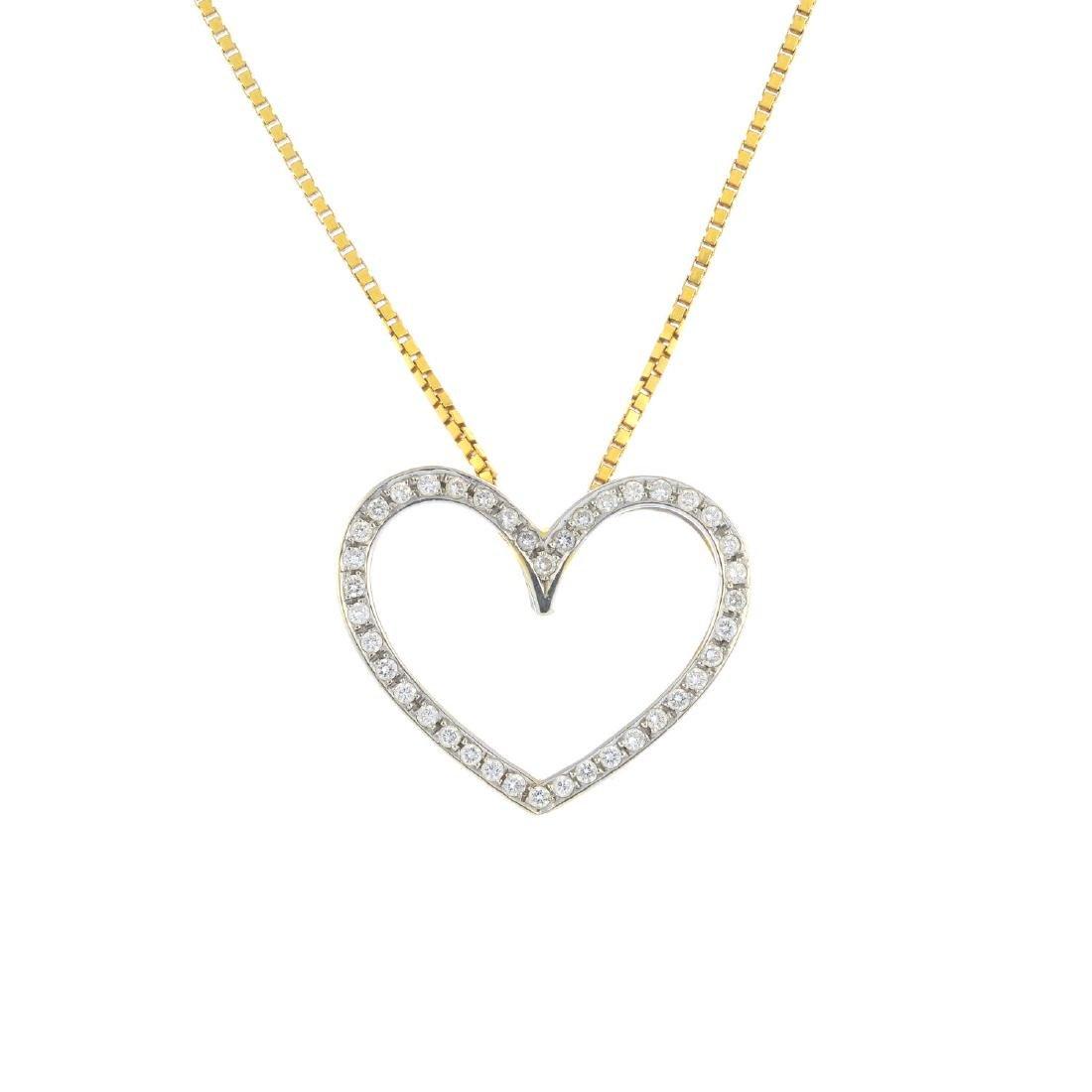 A diamond pendant. The brilliant-cut diamond openwork