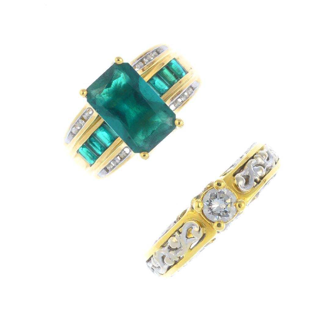 A diamond ring and a synthetic emerald and diamond