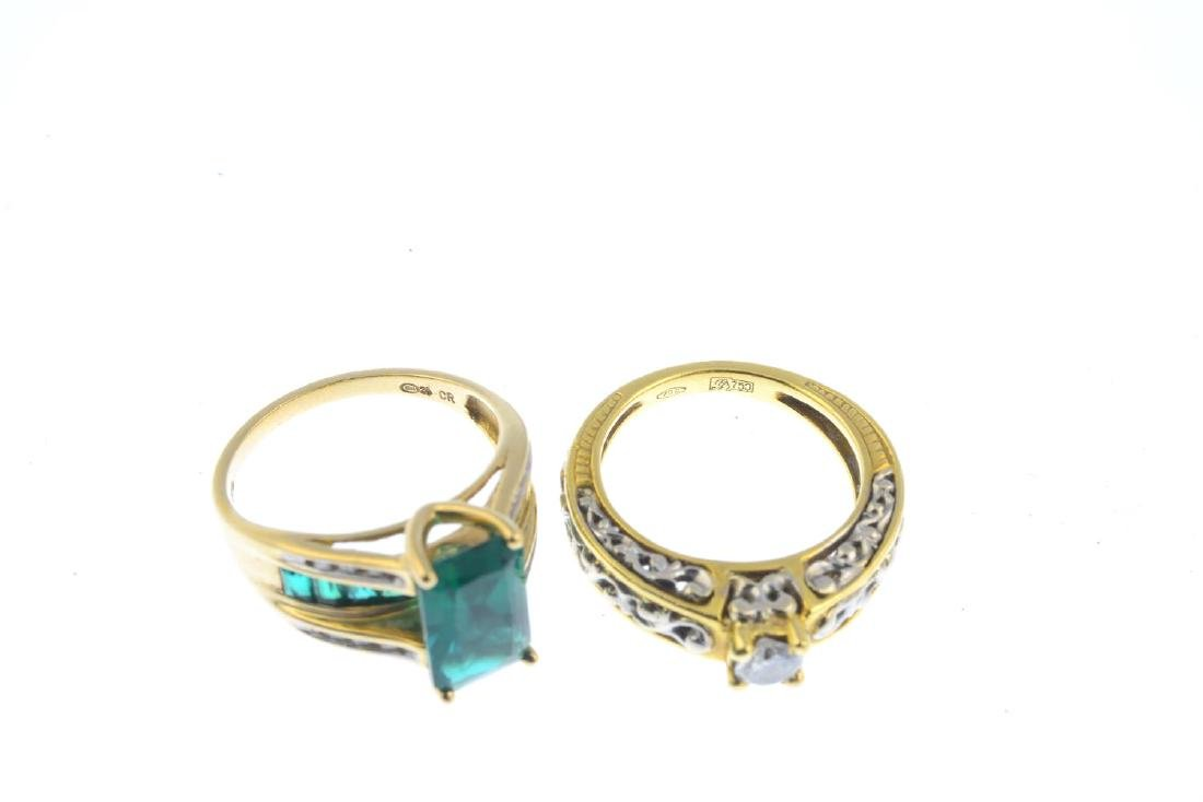 A diamond ring and a synthetic emerald and diamond - 2