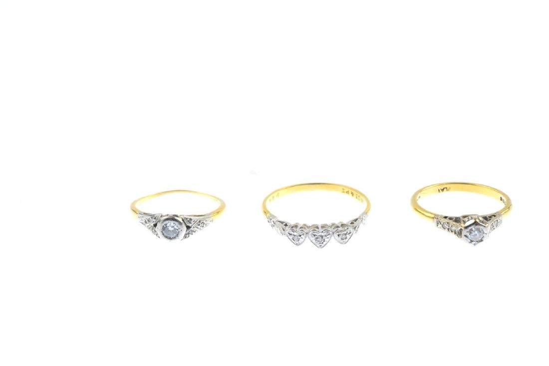 Three diamond rings. To include an 18ct gold - 2