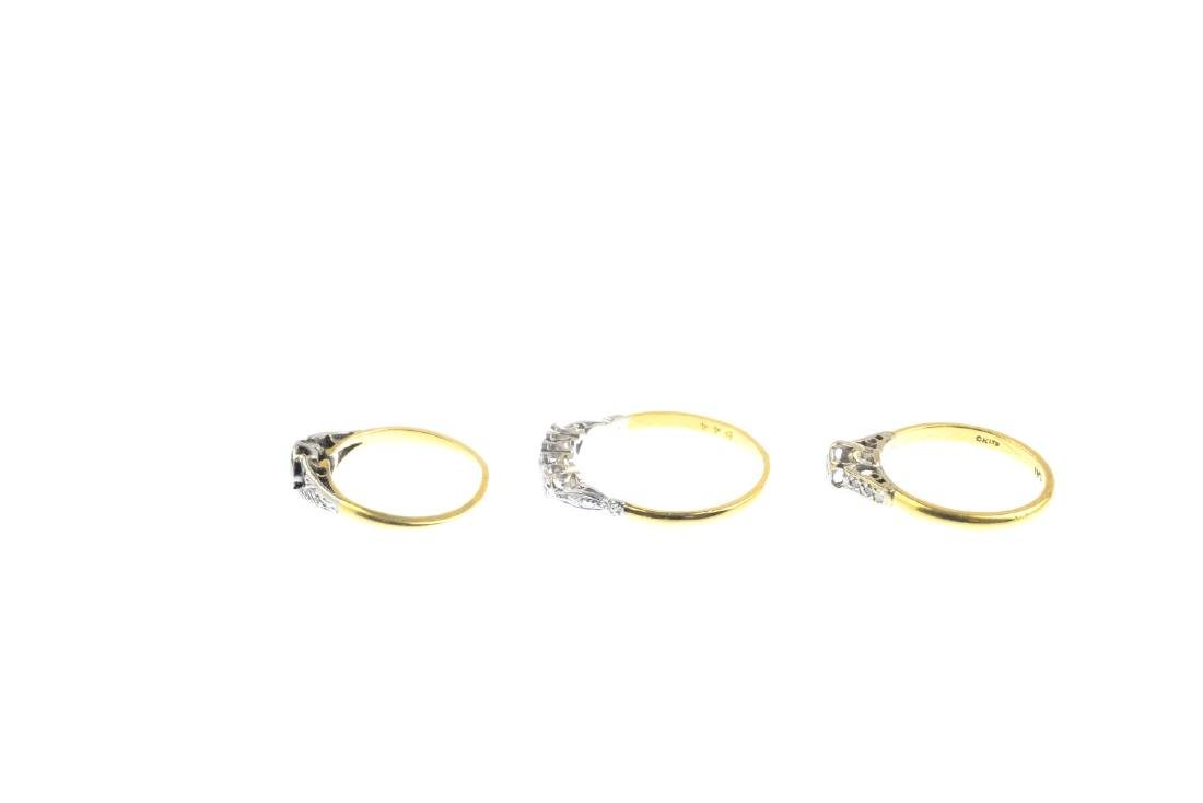 Three diamond rings. To include an 18ct gold - 3