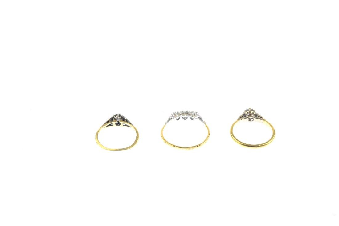 Three diamond rings. To include an 18ct gold - 4