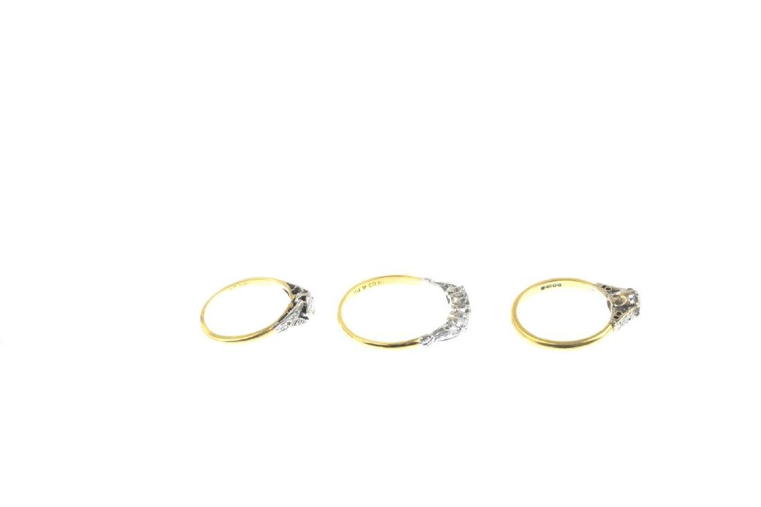 Three diamond rings. To include an 18ct gold - 5