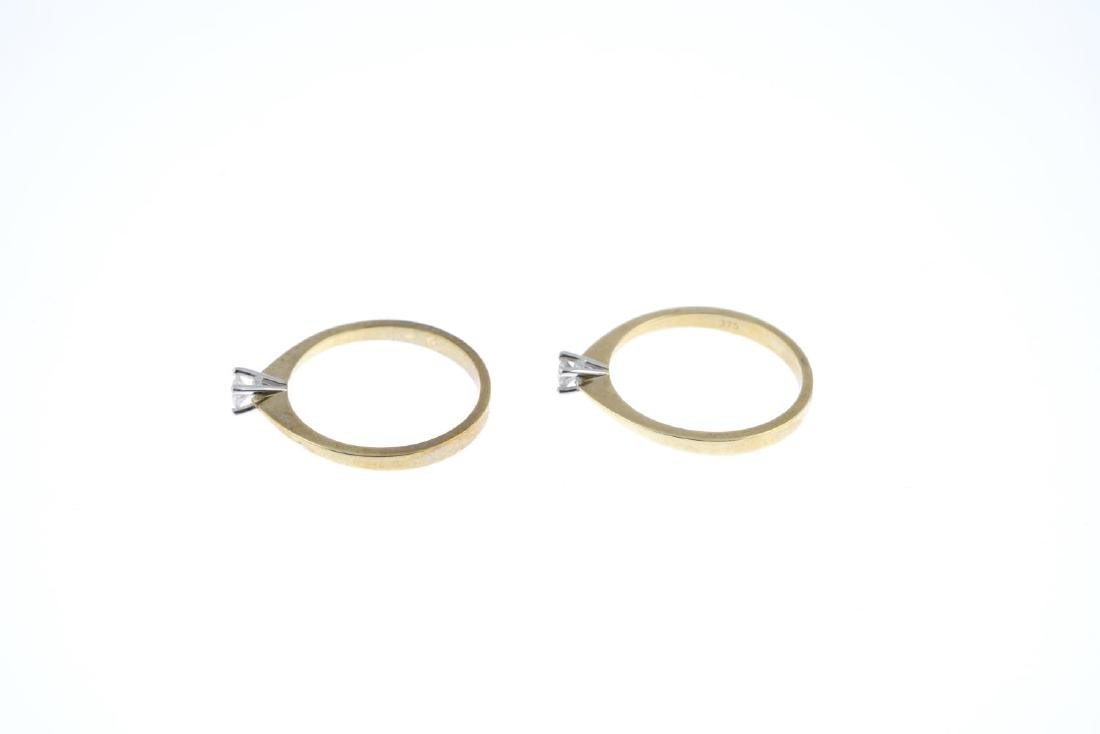 Two diamond single-stone rings. Each designed as a - 2