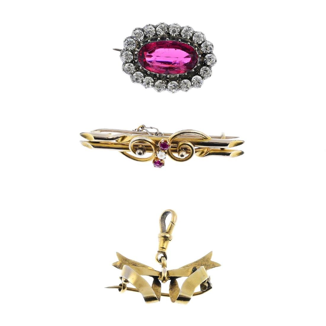 Three early 20th century brooches. To include a 9ct