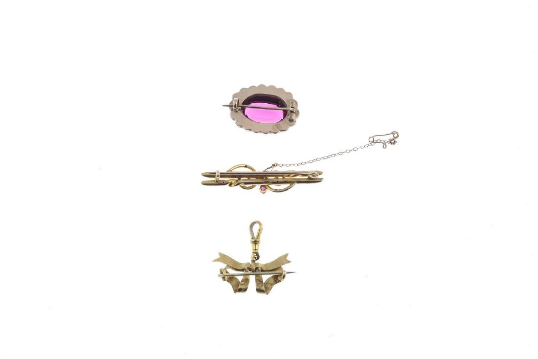 Three early 20th century brooches. To include a 9ct - 2