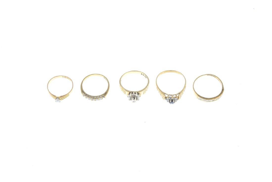 Five gold diamond and gem-set rings. To include a late - 2