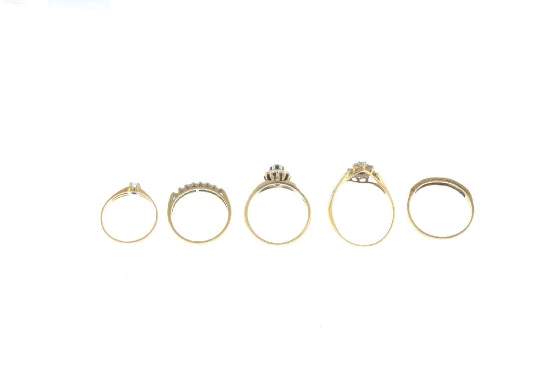 Five gold diamond and gem-set rings. To include a late - 3