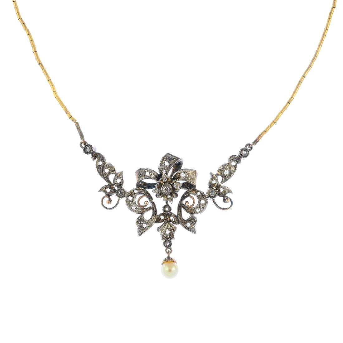 A cultured pearl and diamond necklace. Of openwork