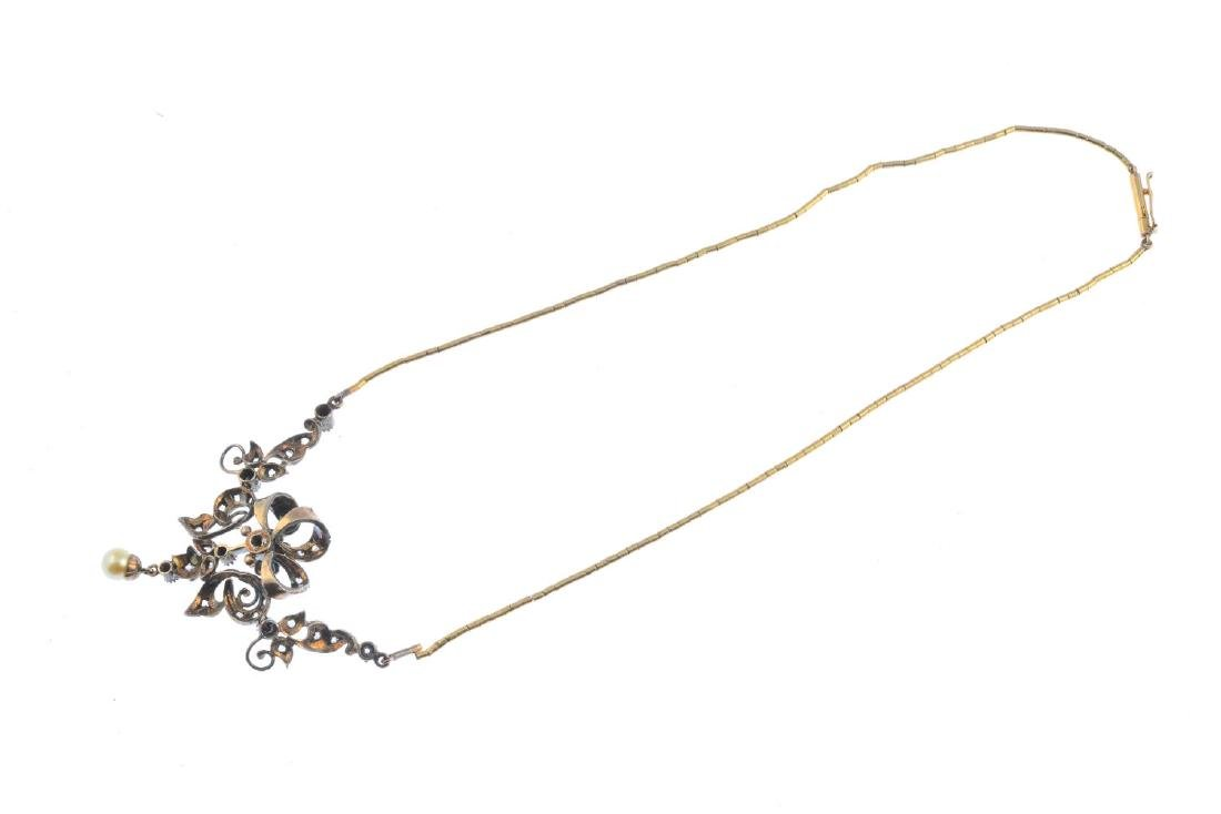 A cultured pearl and diamond necklace. Of openwork - 2
