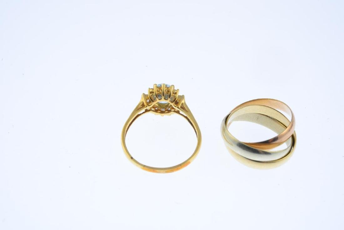 A 9ct gold band ring and an aquamarine and diamond - 2