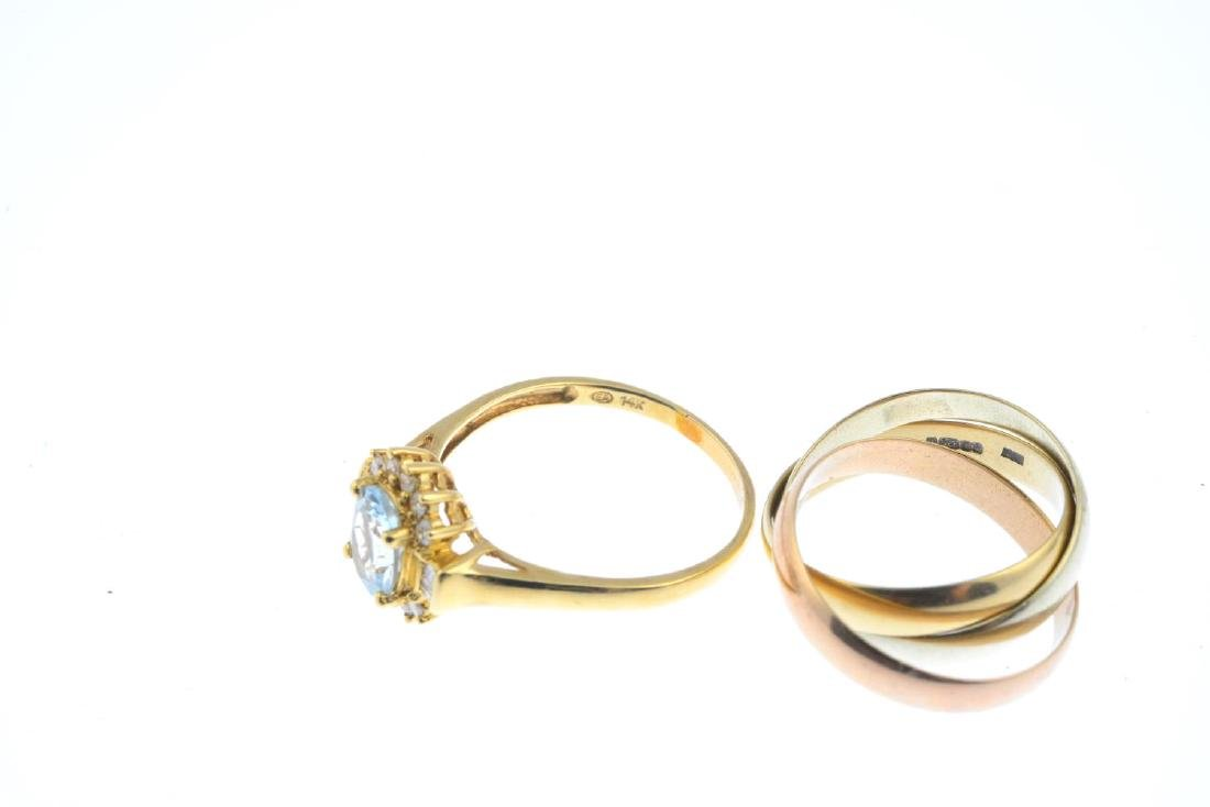 A 9ct gold band ring and an aquamarine and diamond - 3