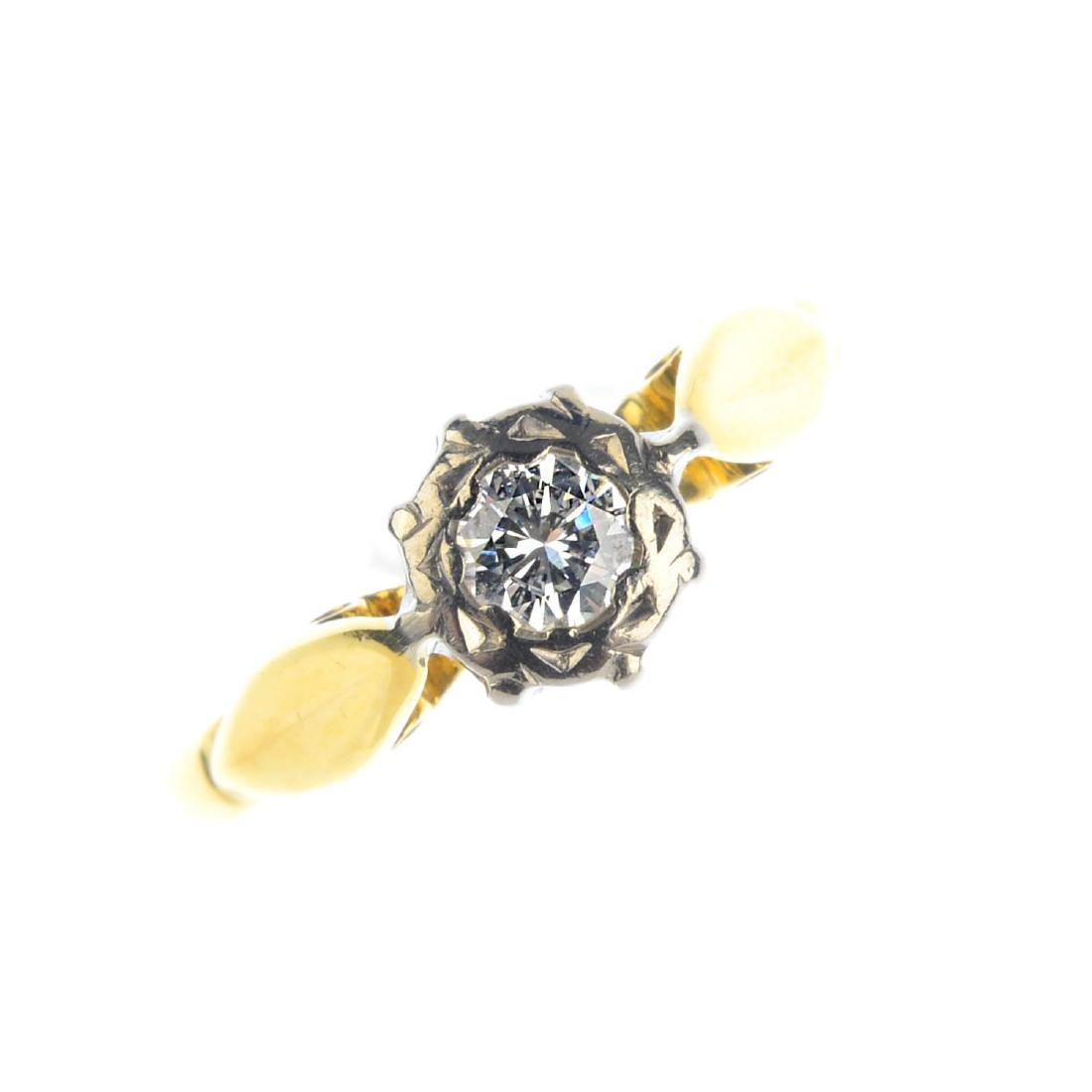 A diamond single-stone ring. The brilliant-cut diamond,