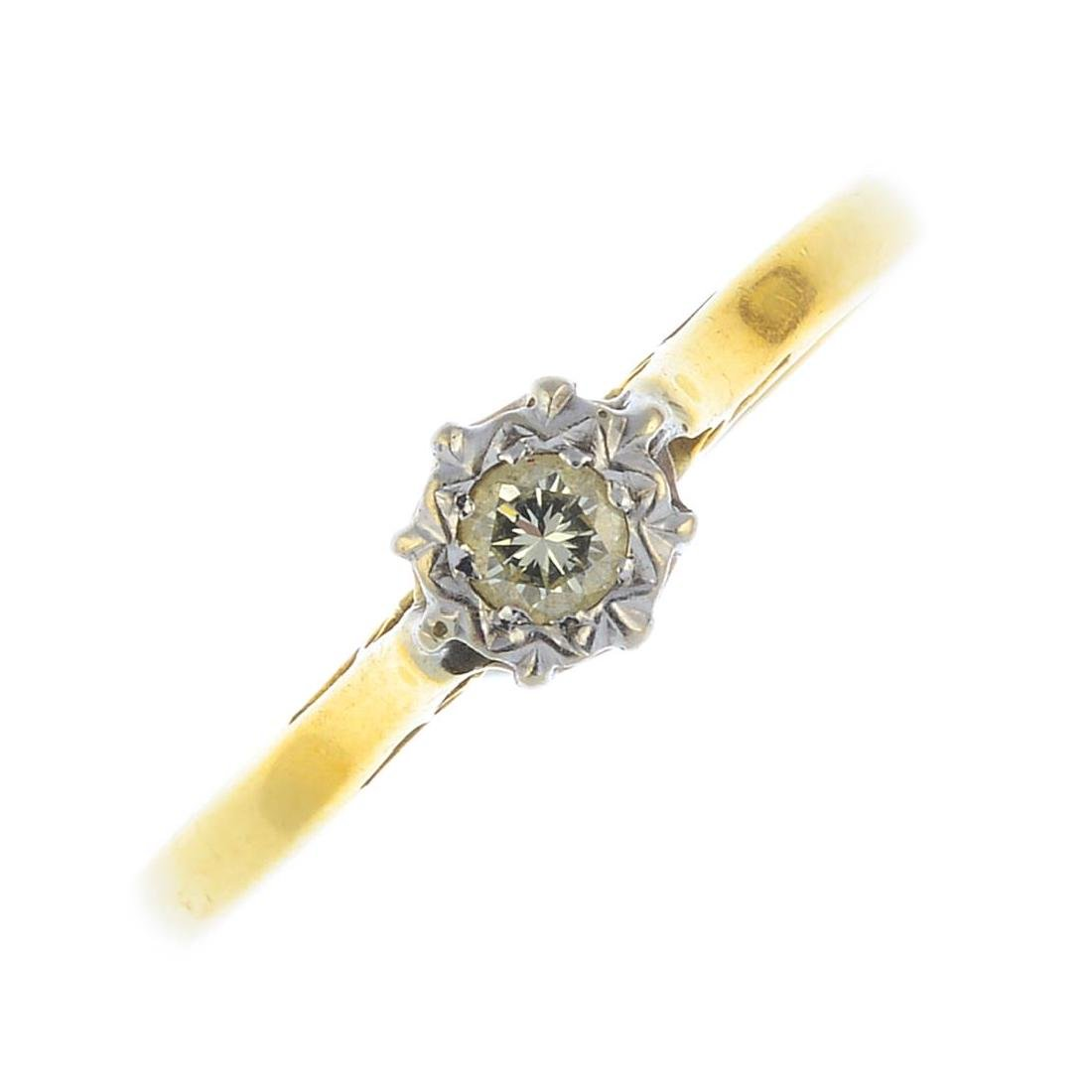A mid 20th century 18ct gold diamond single-stone ring.