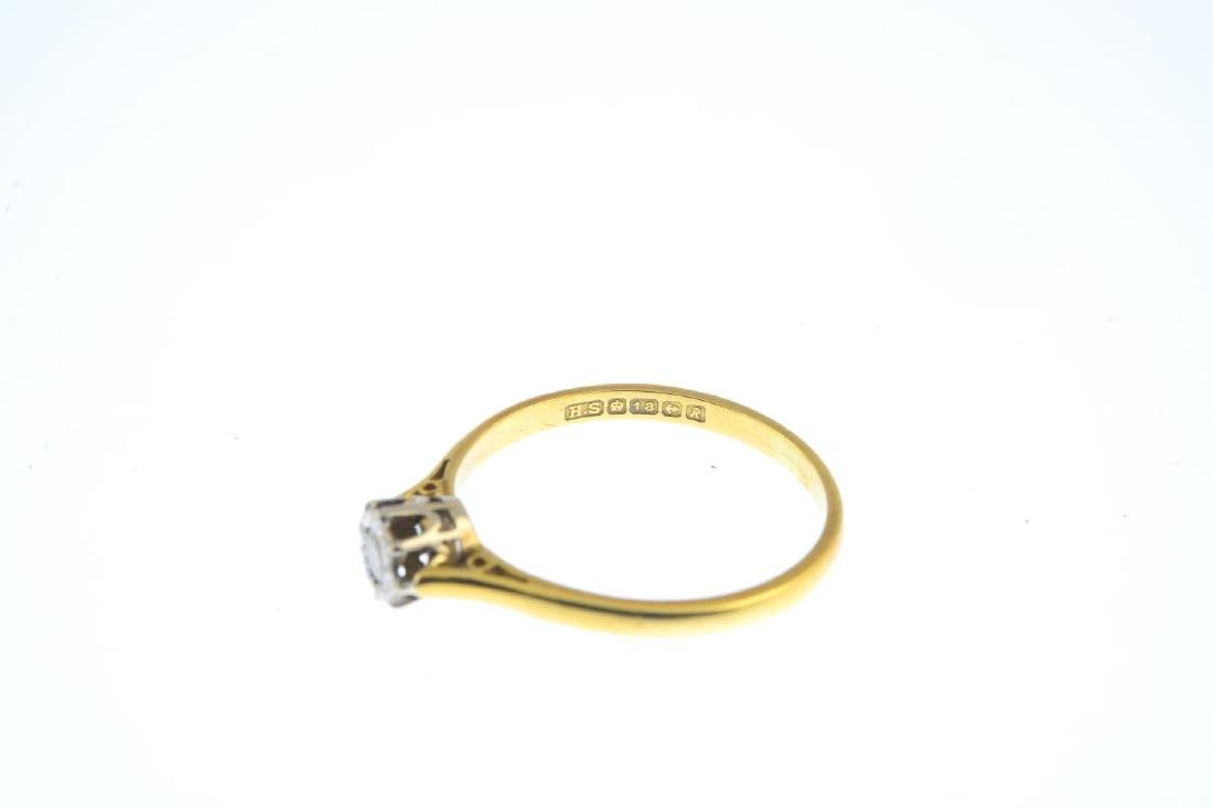 A mid 20th century 18ct gold diamond single-stone ring. - 2