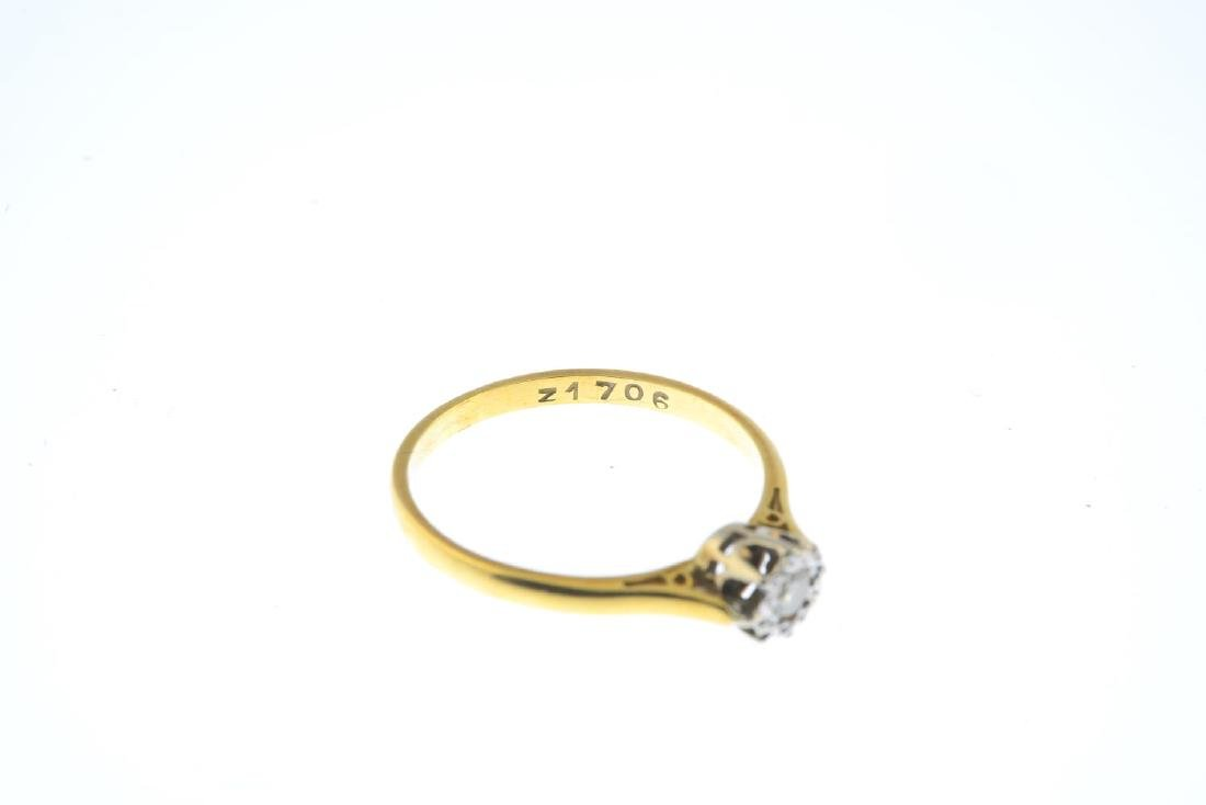 A mid 20th century 18ct gold diamond single-stone ring. - 3
