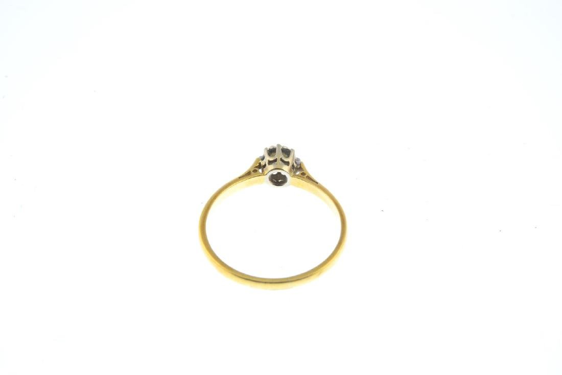 A mid 20th century 18ct gold diamond single-stone ring. - 4