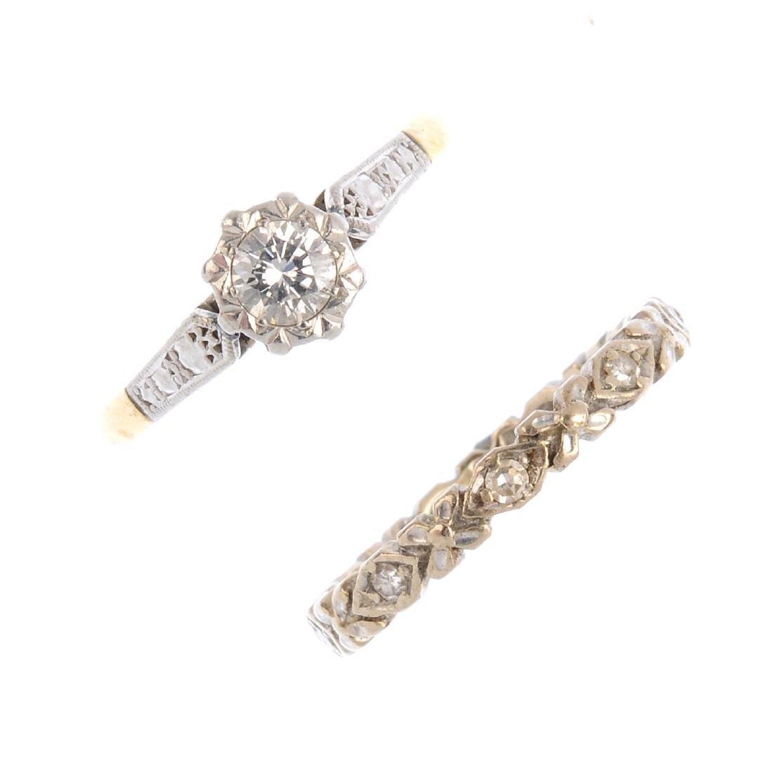 Two diamond rings. To include a single-cut diamond