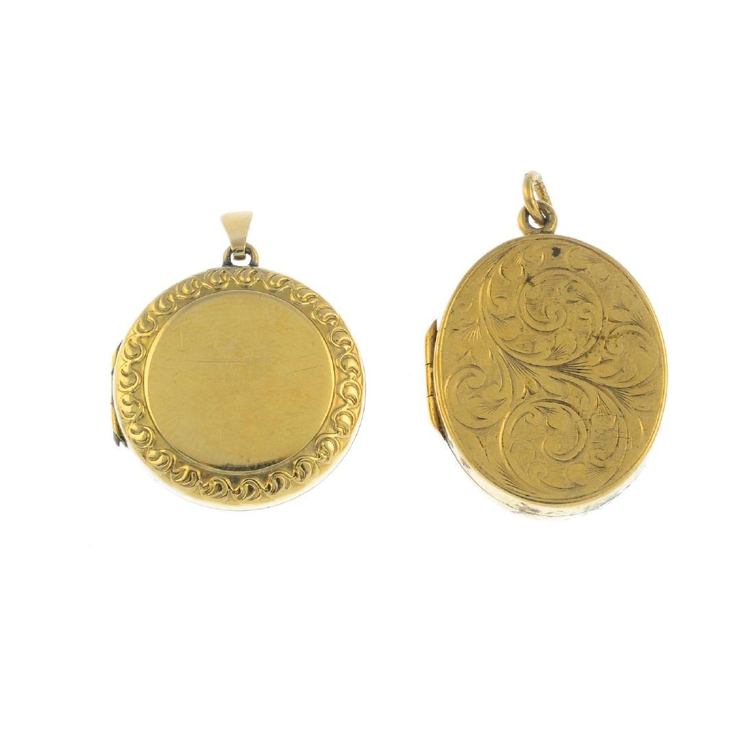 Two lockets. To include a 9ct gold oval locket, with a