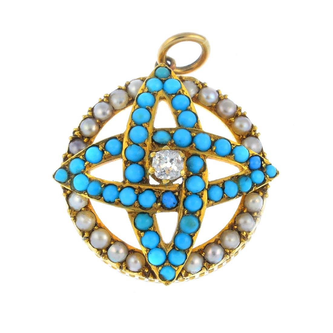 A late Victorian gold turquoise, diamond and split