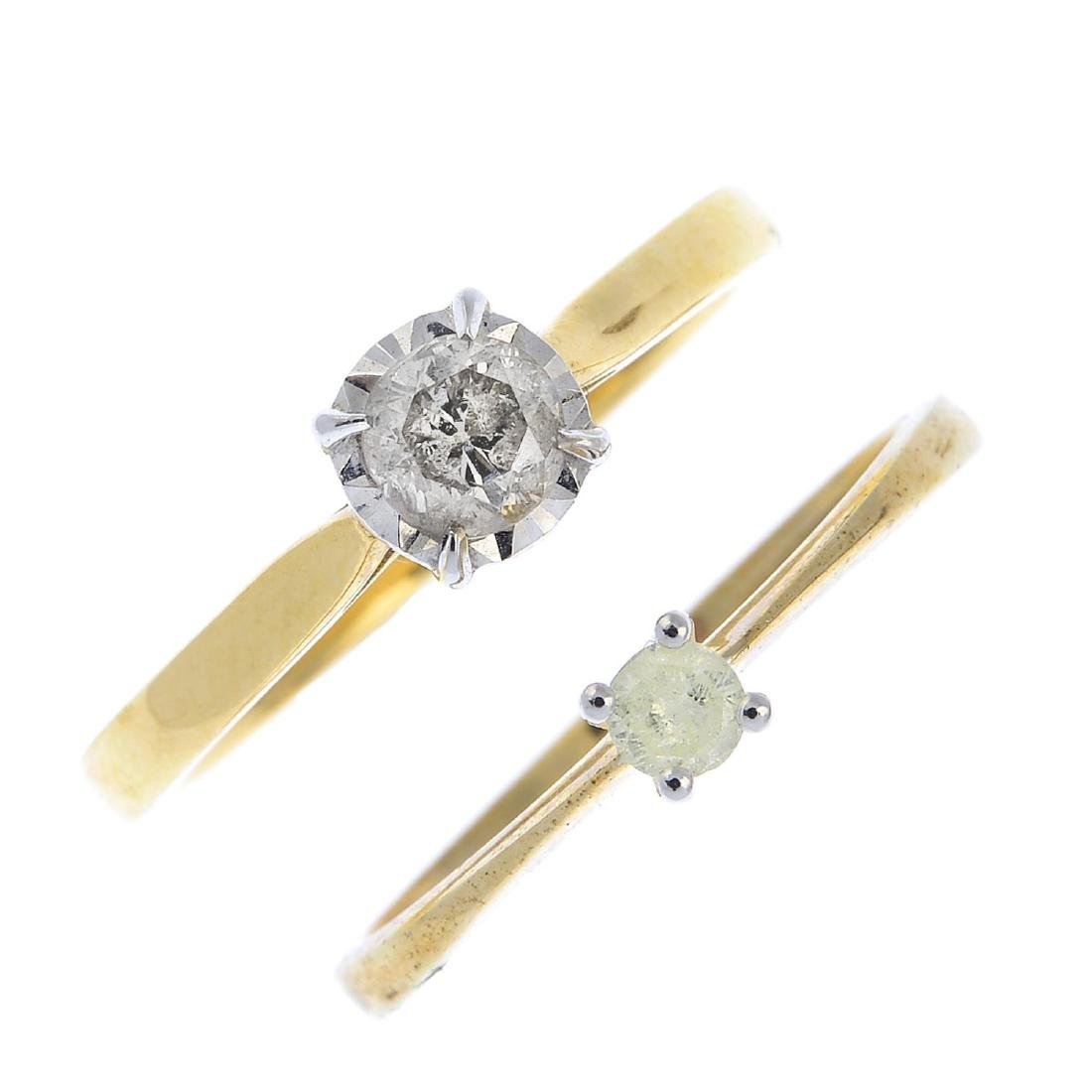 Two diamond single-stone rings. Each designed as a